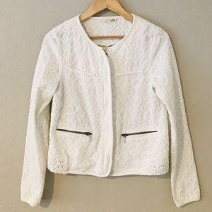 Anthropologie Moth White Jacquard Jacket Blazer